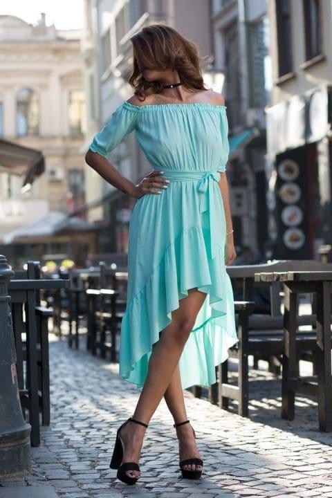 Rochie De Zi Asimentrica Nicole Bleu 3