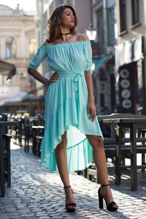 Rochie De Zi Asimentrica Nicole Bleu 4