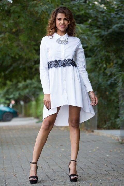 Camasa tip rochie asimetrica Hope alba
