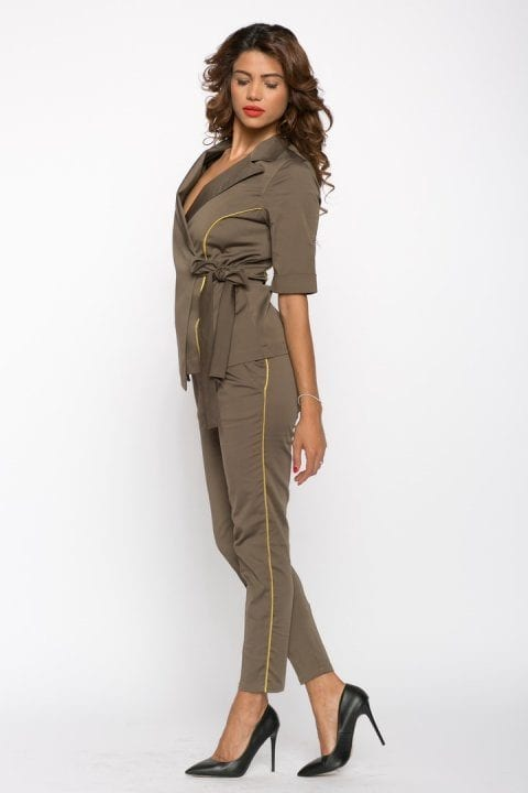 Pantaloni Dama Kaki Cu Vipusca Aurie 2