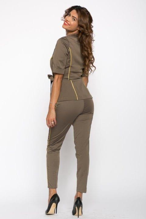 Pantaloni Dama Kaki Cu Vipusca Aurie 3