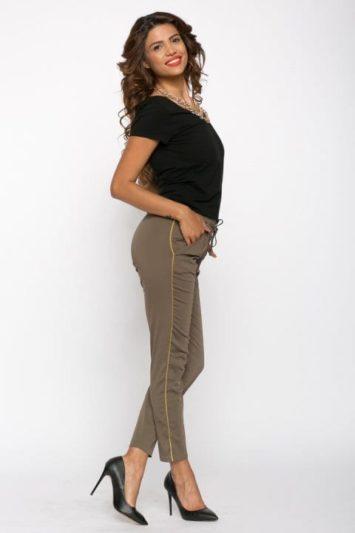 Pantaloni Dama Kaki Cu Vipusca Aurie 4