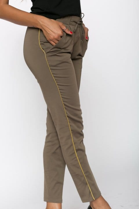 Pantaloni Dama Kaki Cu Vipusca Aurie 5