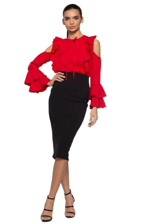 Bluză Dama Volane Ciello Roșie 2