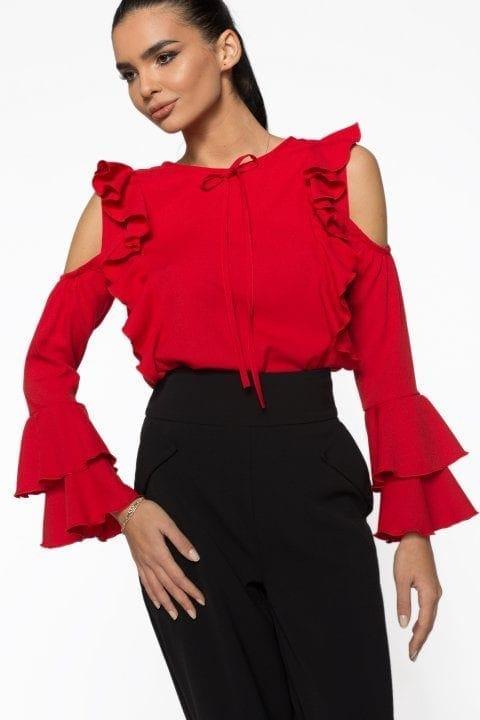 Bluză Dama Volane Ciello Roșie 4