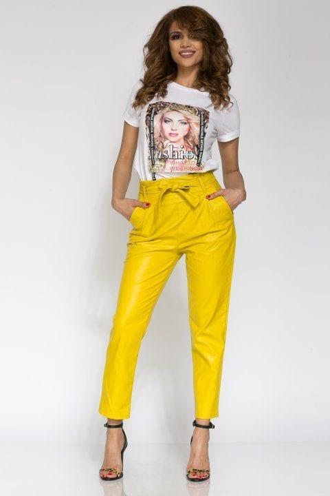 Pantaloni Dama Piele Eco Nayan Galben 4