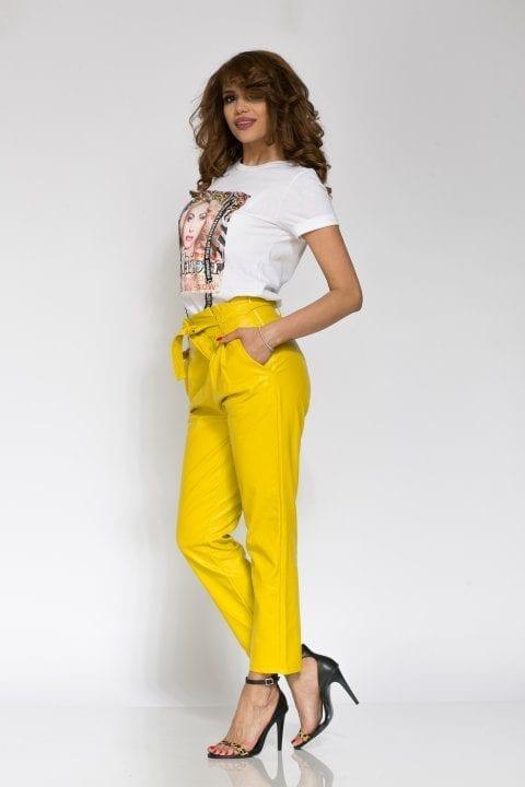 Pantaloni Dama Piele Eco Nayan Galben