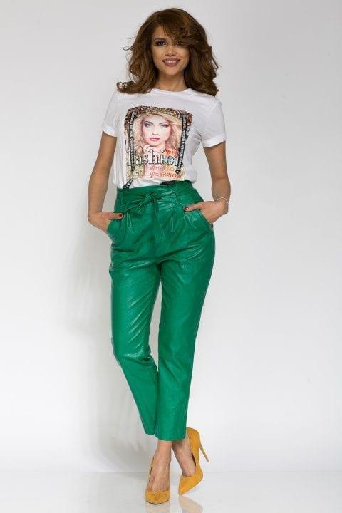 Pantaloni Dama Piele Eco Nayan Verde 4