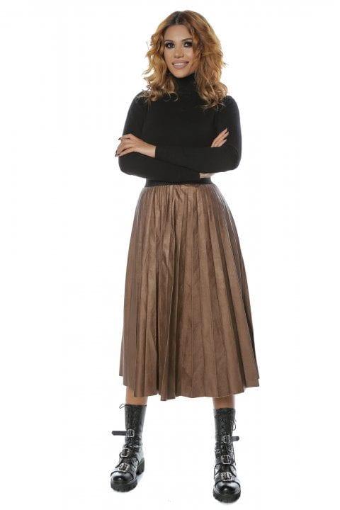 Fusta Dama Lunga Eco Piele Plisata Stacy Maro