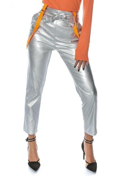 Pantaloni Piele Dama Nayan Argintiu 2