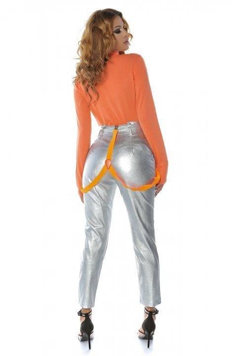 Pantaloni Piele Dama Nayan Argintiu 3