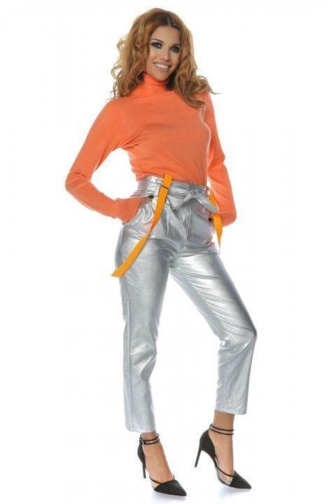 Pantaloni Piele Dama Nayan Argintiu 4