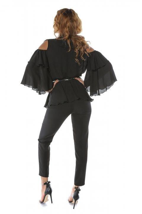 Bluza Dama Neagra Eleganta Cu Volane Si Umeri Decupati Ivy 2