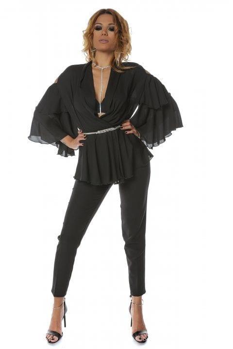 Bluza Dama Neagra Eleganta Cu Volane Si Umeri Decupati Ivy 4