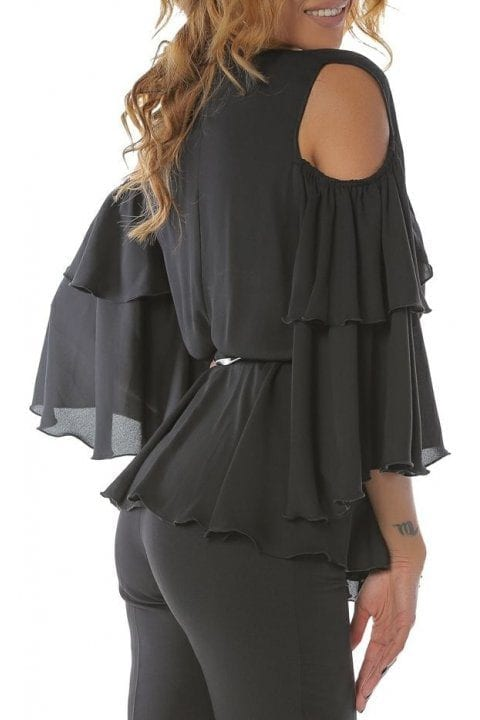Bluza Dama Neagra Eleganta Cu Volane Si Umeri Decupati Ivy