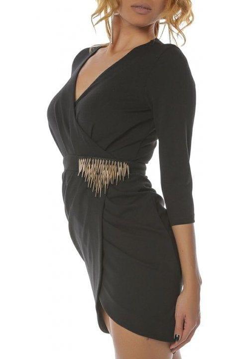 Rochie Eleganta Neagra Cu Accesoriu Auriu Betsy 2