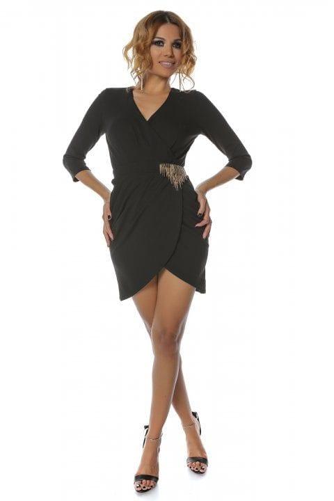 Rochie Eleganta Neagra Cu Accesoriu Auriu Betsy 4