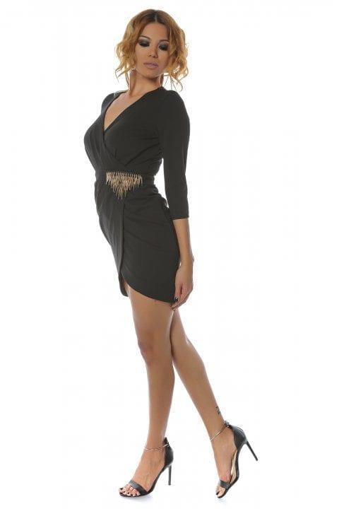 Rochie Eleganta Neagra Cu Accesoriu Auriu Betsy
