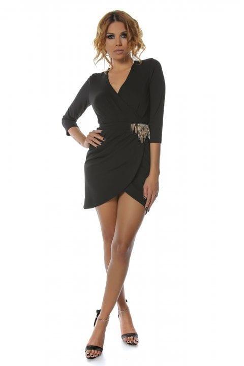 Rochie Eleganta Neagra Cu Accesoriu Auriu Betsy 5