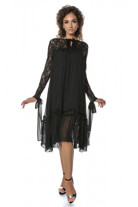 Rochie Eleganta Neagra Cu Dantela Si Funda Anisia 2