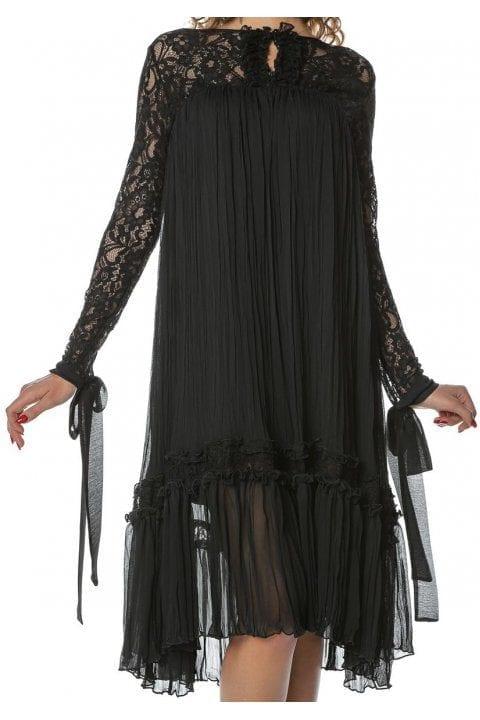 Rochie Eleganta Neagra Cu Dantela Si Funda Anisia 3