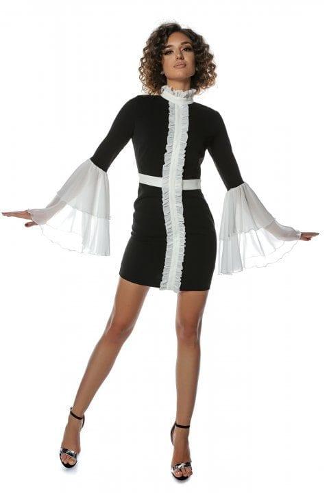 Rochie Eleganta Neagra Cu Jabou Si Volane Albe Faith 3