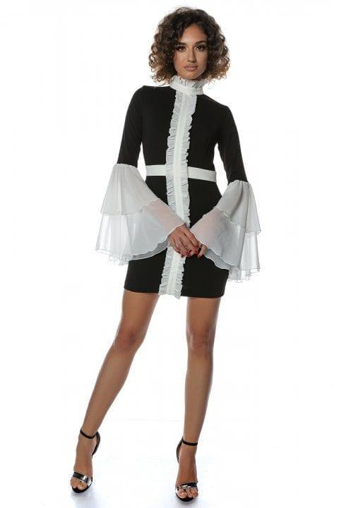 Rochie Eleganta Neagra Cu Jabou Si Volane Albe Faith