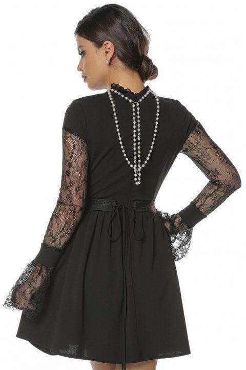 Rochie Eleganta Neagra Cu Maneci Din Dantela Caryola 4