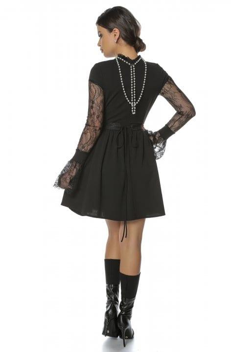 Rochie Eleganta Neagra Cu Maneci Din Dantela Caryola 5