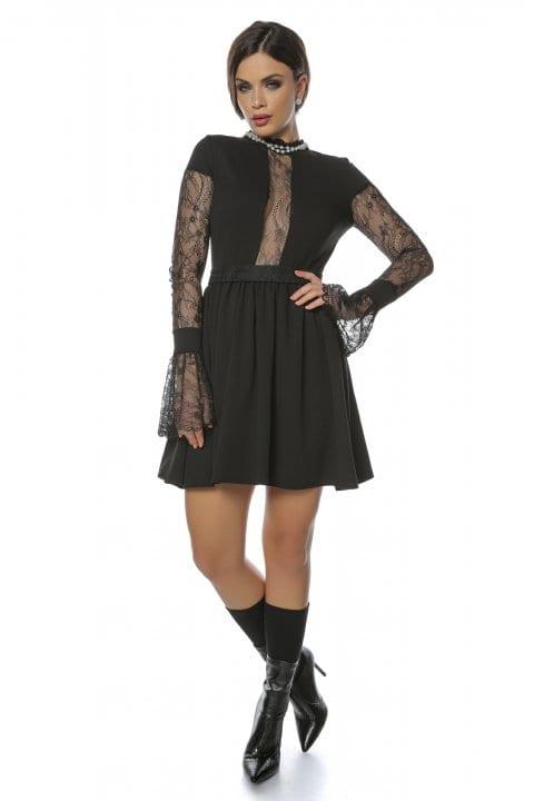 Rochie Eleganta Neagra Cu Maneci Din Dantela Caryola 6