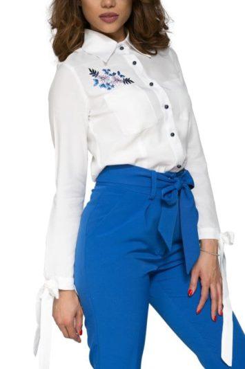 Pantaloni dama albastri cu talie inalta si funda Rini