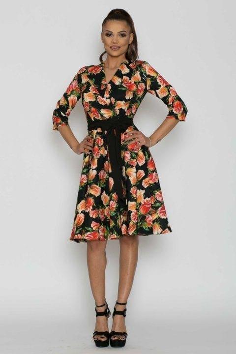 Rochie casual cu imprimeu floral Dalila neagra
