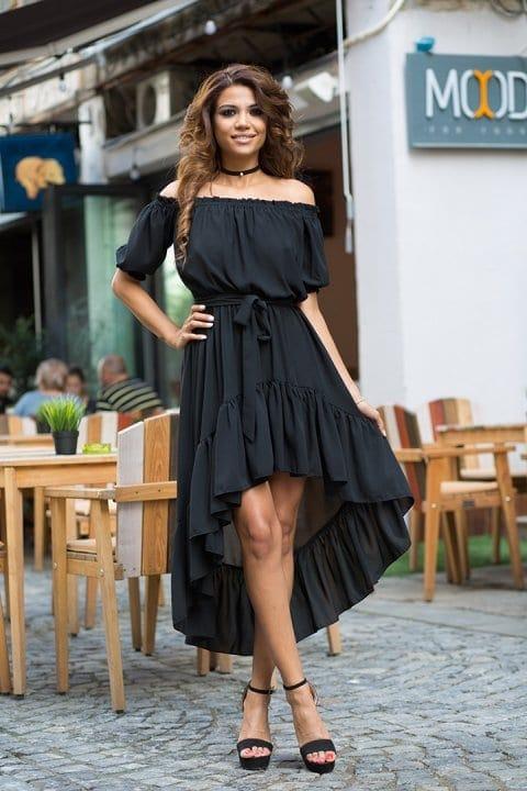 Rochie de zi asimetrica Nicole Neagra