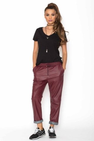 Pantaloni dama Piele Eco Metalizat bordo