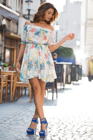 Rochie de zi cu imprimeu floral Crina