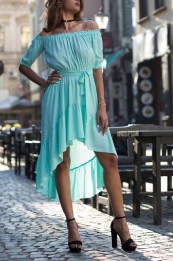 Rochie de zi asimetrica Nicole bleu
