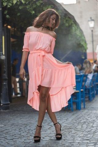 Rochie de zi asimetrica Nicole roz