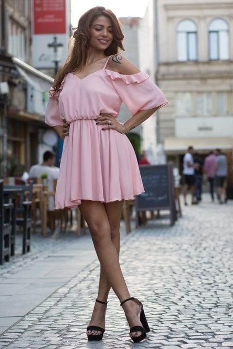 Rochie casual Ami roze