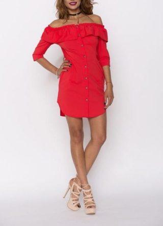 Rochie de zi Nissa rosie