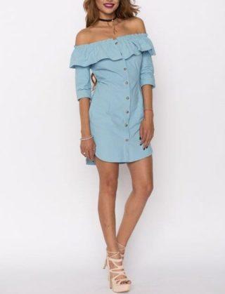 Rochie de zi Nissa bleu