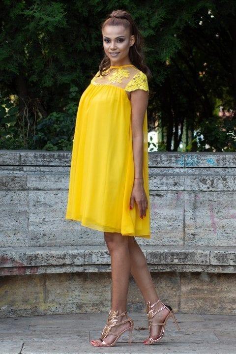 Rochie De Seara Dantela Catlin Galben Inna B Clothing