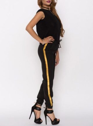 Pantaloni dama Kylie negru cu banda aurie