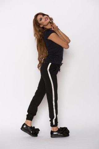 Pantaloni dama Kylie negri cu bandă argintie