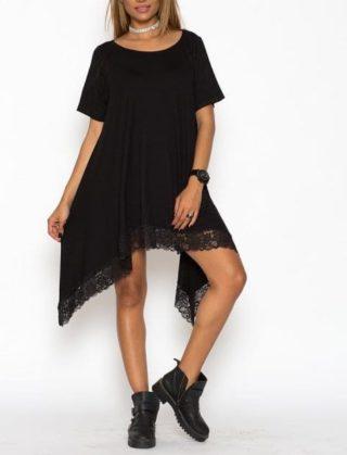 Rochie casual asimetrica Lace Neagra