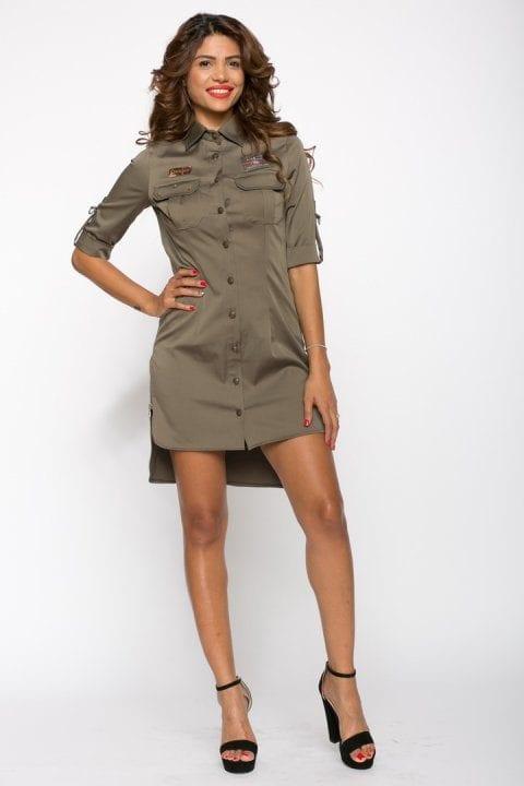Rochie casual Army kaki