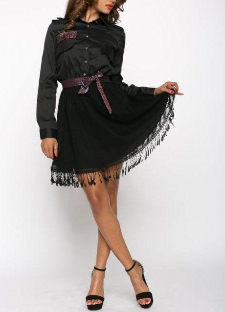 Rochie de zi Eva cu cordon mov