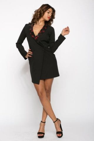 Sacou dama tip rochie Thalia negru