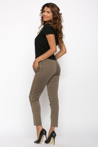 Pantaloni dama kaki cu vipusca aurie