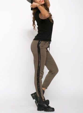 Pantaloni dama cu banda laterala kaki