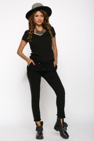 Pantaloni dama cu banda laterala negri